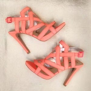 Limelight Coral Faux Suede Strappy Heels